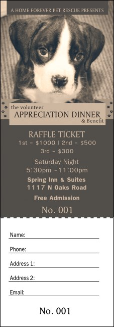 Humane Society Raffle Ticket Product Front