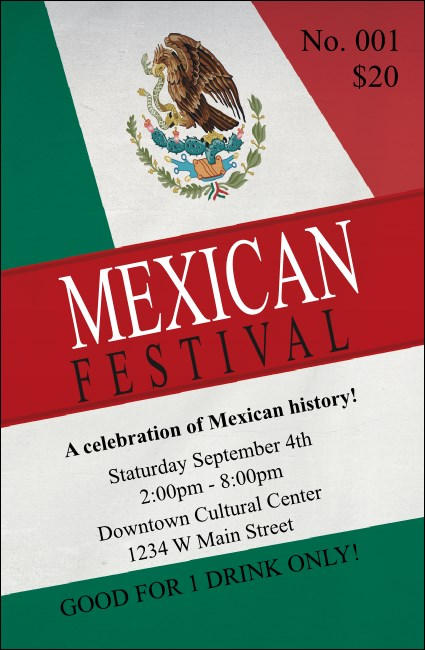 Mexican Flag Drink Ticket Product Front