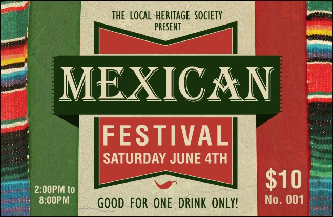 Mexican Hat Drink Ticket Product Front