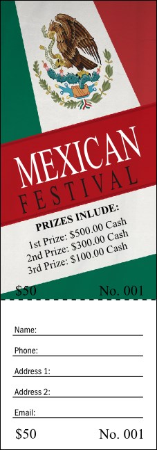 Mexican Flag Raffle Ticket Product Front