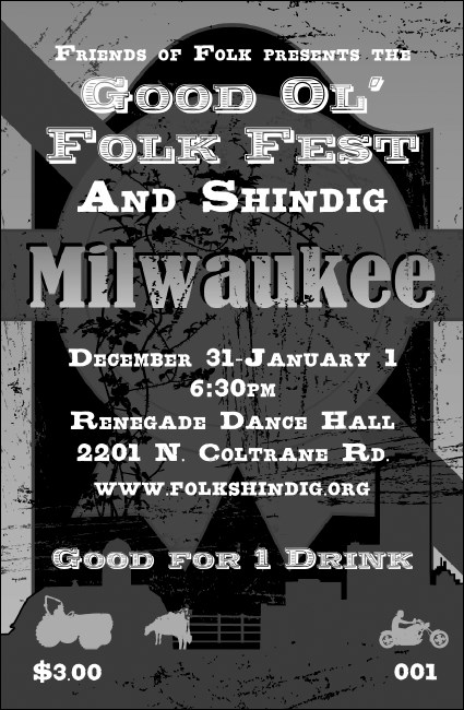 Milwaukee Drink Ticket Black and White