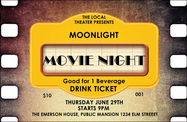 Movie Strip Drink Ticket