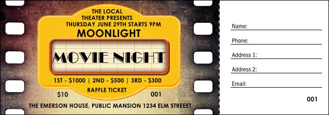 Movie Strip Raffle Ticket