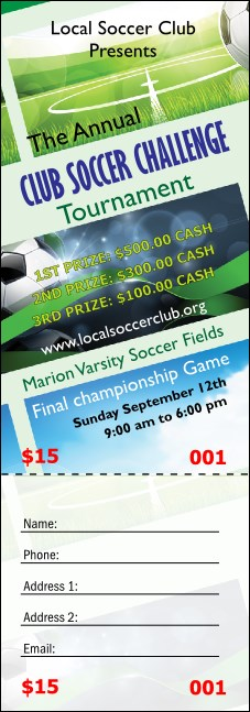Soccer Ribbon Raffle Ticket