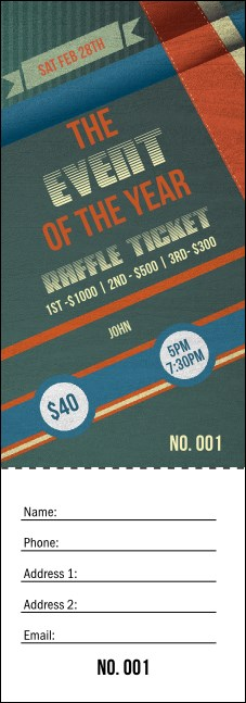 Retro Stripes Raffle Ticket