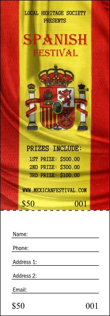 Spanish Flag Raffle Ticket Product Front