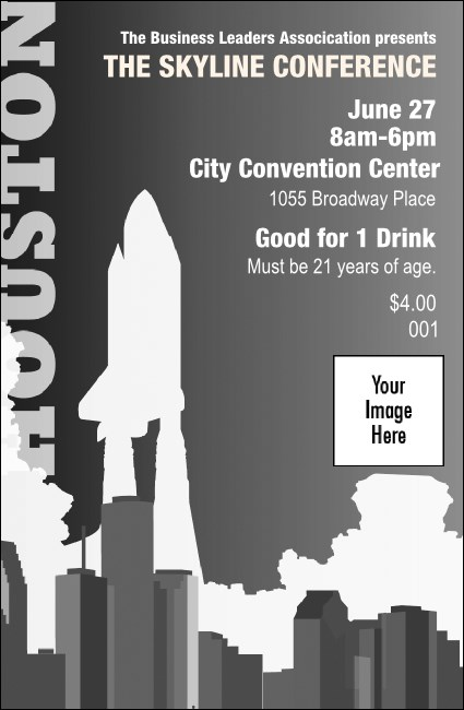 Houston Drink Ticket (Black and white)