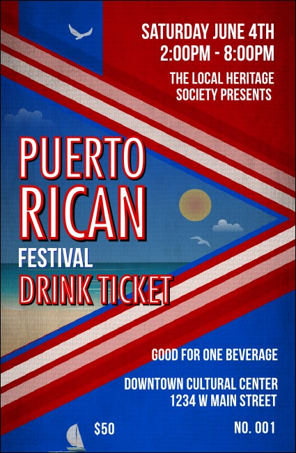 Puerto Rico Flag Drink Ticket