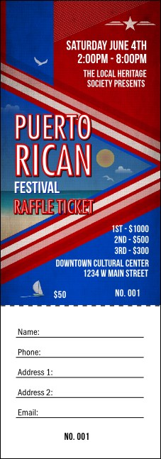 Puerto Rico Flag Raffle Ticket