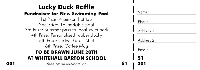 All Purpose 6 Prize Raffle Ticket
