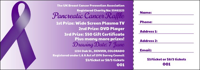 Purple Ribbon Raffle Ticket