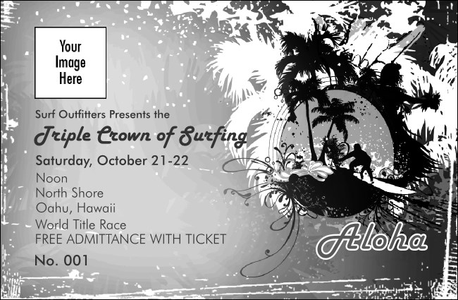 Aloha Black and White Drink Ticket