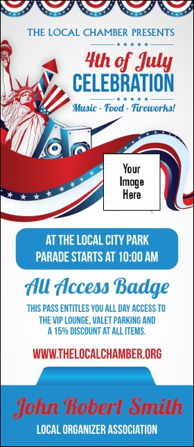 Fourth of July  Freedom VIP Event Badge Large