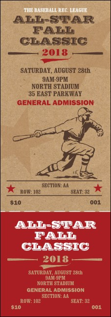 All Star Retro Baseball Reserved Event Ticket Product Front