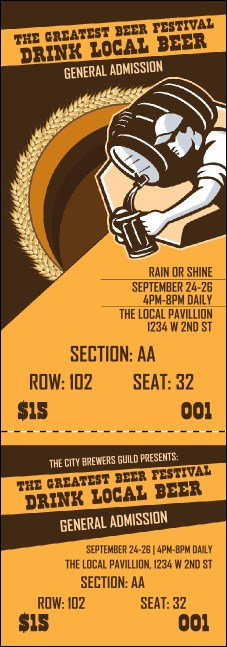 Beer Festival Artisan Reserved Event Ticket