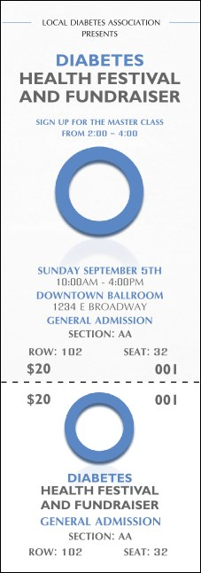 Diabetes Reserved Event Ticket Product Front
