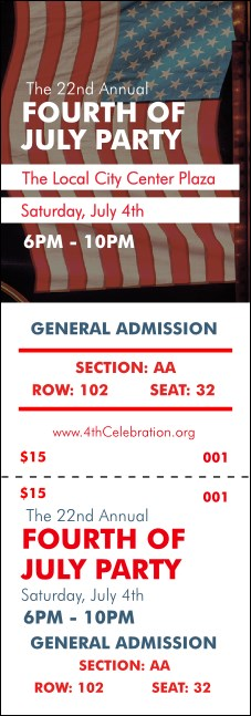 Fourth of July Reserved Event Ticket Product Front