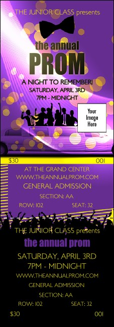 Prom Limo Reserved Event Ticket Product Front