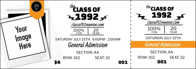 Class Reunion Mascot Orange Reserved Event Ticket