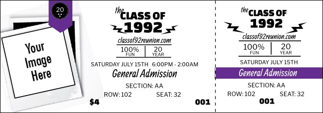 Class Reunion Mascot Purple Reserved Event Ticket Product Front