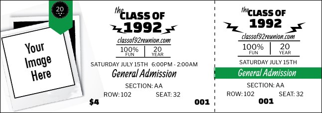 Class Reunion Mascot Green Reserved Event Ticket