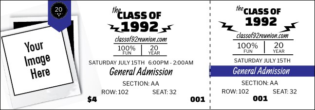 Class Reunion Mascot Blue Reserved Event Ticket