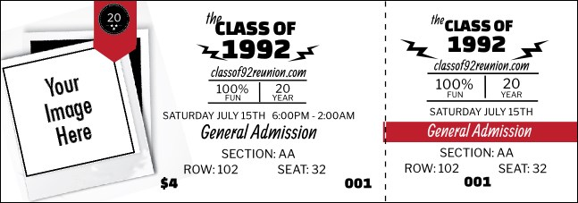 Class Reunion Mascot Red Reserved Event Ticket