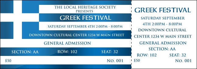 Greek Reserved Event Ticket