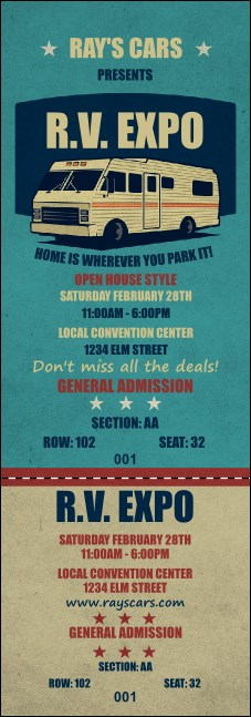 RV Expo Reserved Event Ticket Product Front