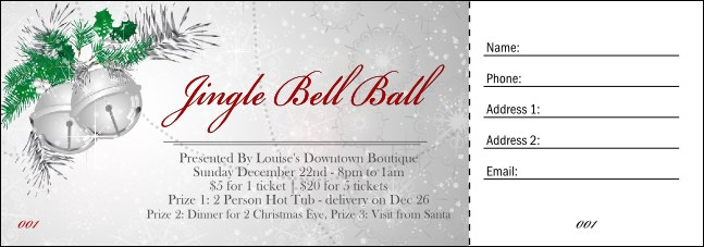 Jingle Bells Raffle Ticket