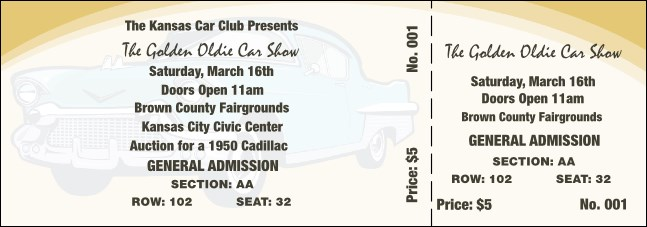 50s Classic Car Reserved Event Ticket