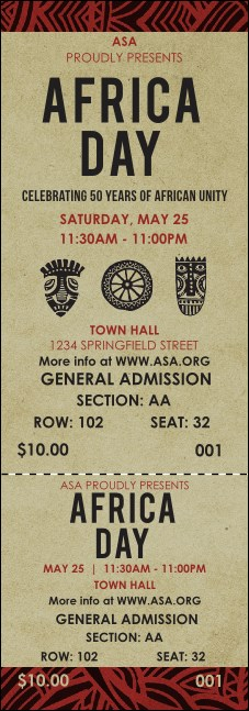 African Theme Reserved Event Ticket Product Front