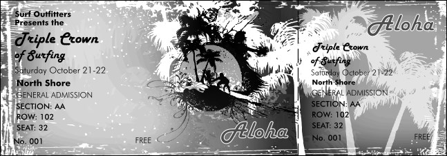 Aloha Black and White Reserved Event Ticket