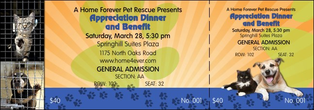Animal Rescue Benefit Reserved Event Ticket
