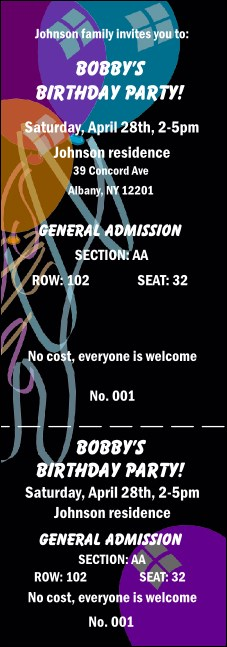 Balloon Black Reserved Event Ticket
