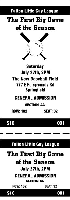 Baseball 001 Reserved Event Ticket