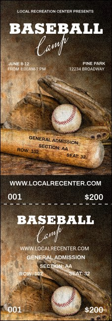 Baseball Camp Reserved Event Ticket