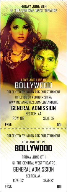 Bollywood Reserved Event Ticket Product Front