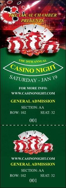 Casino Chips Reserved Event Ticket
