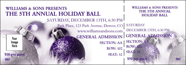 Christmas Ornament Purple Reserved Event Ticket Product Front