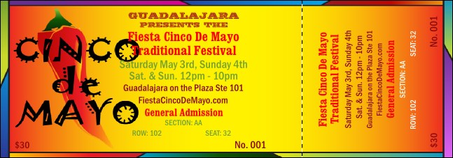 Cinco de Mayo 001 Reserved Event Ticket Product Front