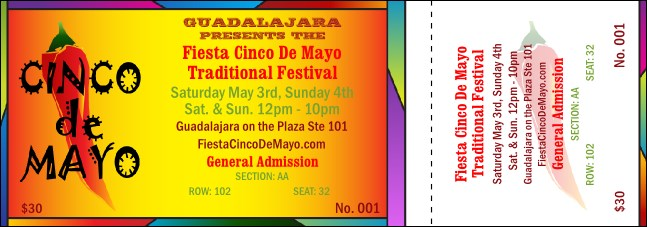 Cinco de Mayo 002 Reserved Event Ticket Product Front