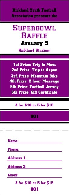 Sports Purple Black Raffle Ticket