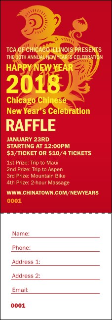 Chinese New Year Monkey Raffle Ticket