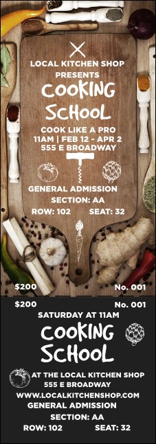 Cooking School Reserved Event Ticket