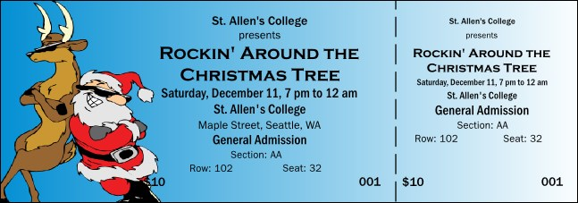 Cool Christmas 001 Reserved Event Ticket Product Front