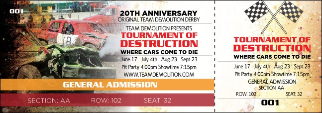 Crash Zone Reserved Event Ticket