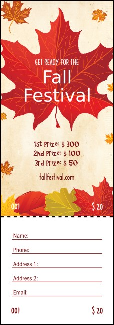Fall Leaves Raffle Ticket