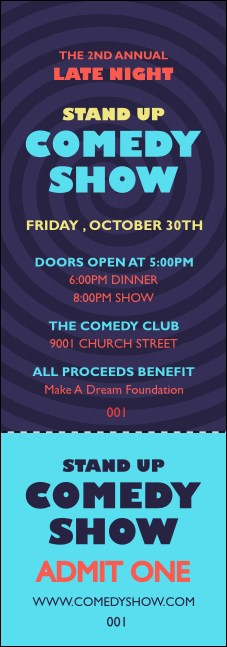 Comedy Spirals Blue Event Ticket Product Front
