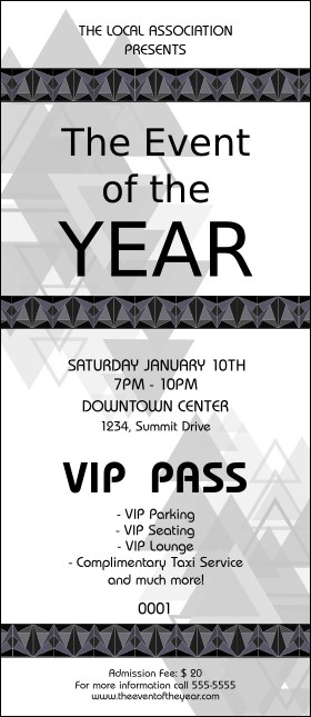 All Purpose Triangles 2 Black and White VIP Pass Product Front